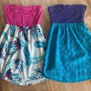 2 Pattern roxy strapless dresses
